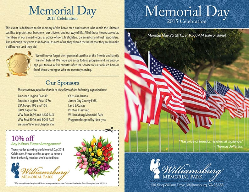 Williamsburg Memorial Park 2015 Memorial Day Program