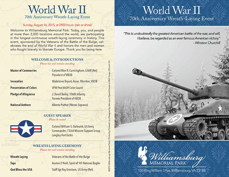 World War II 70th Anniversary Wreath Laying Program