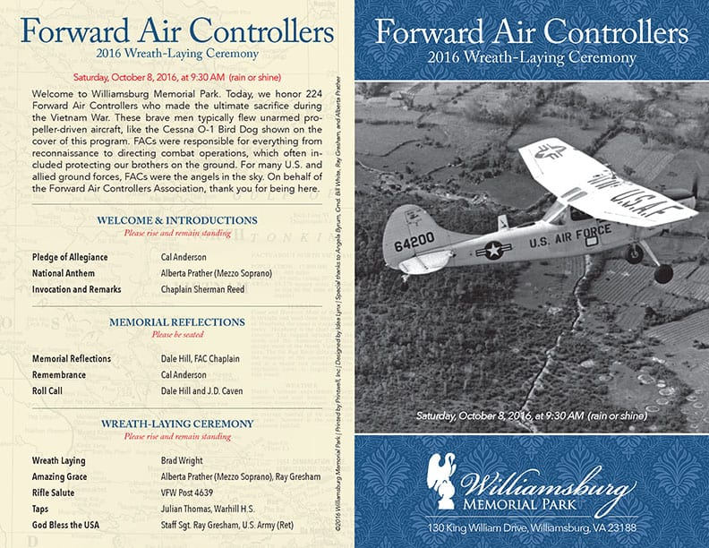 2016 Forward Air Controllers Wreath-Laying Program