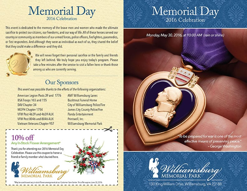 Williamsburg Memorial Park 2016 Memorial Day Program