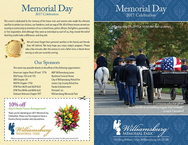 Williamsburg Memorial Park 2017 Memorial Day Program